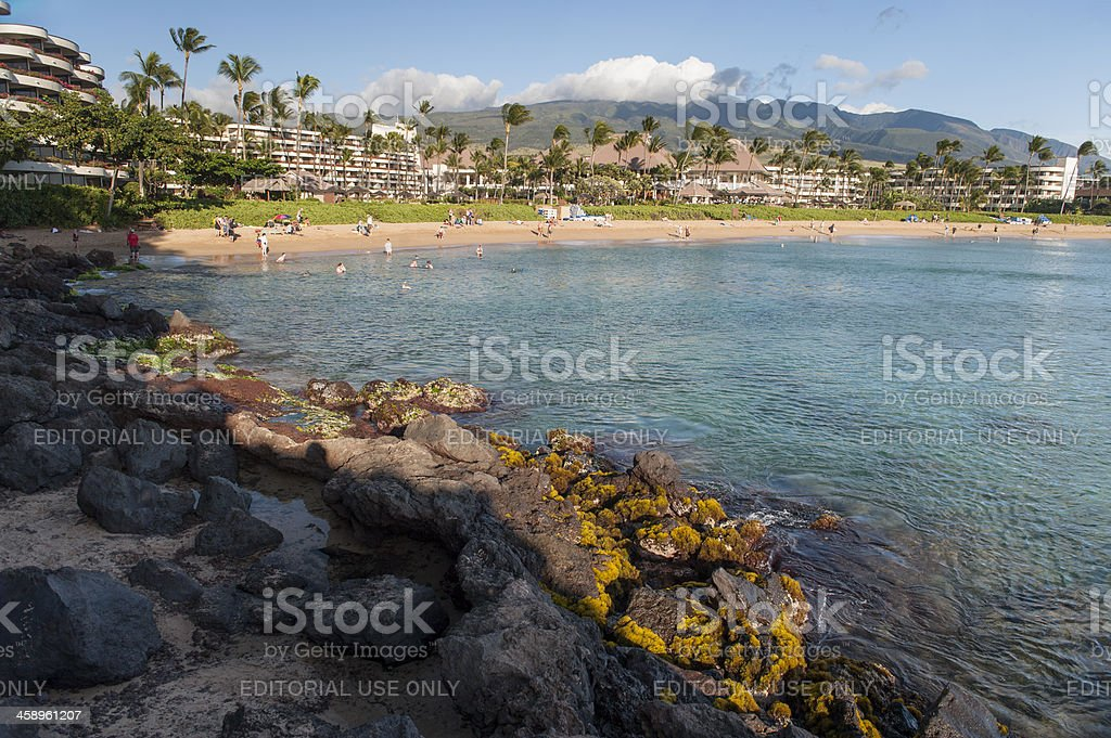Kaanapali Beach From Black Rock stock photo