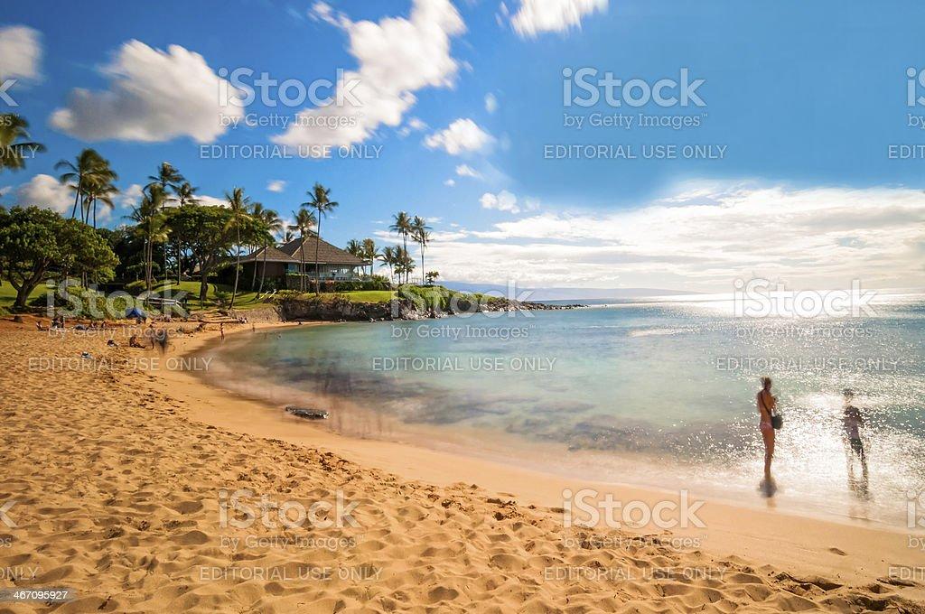 Kaanapali beach in West Maui, Hawaii stock photo