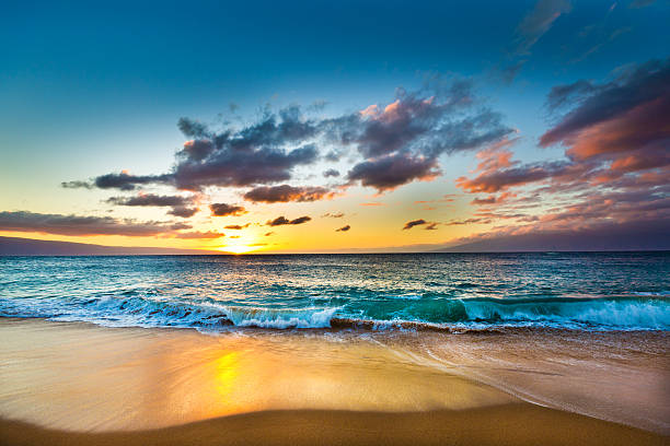 Kaanapali Beach on West Shore of Maui Hawaii at Sunset stock photo