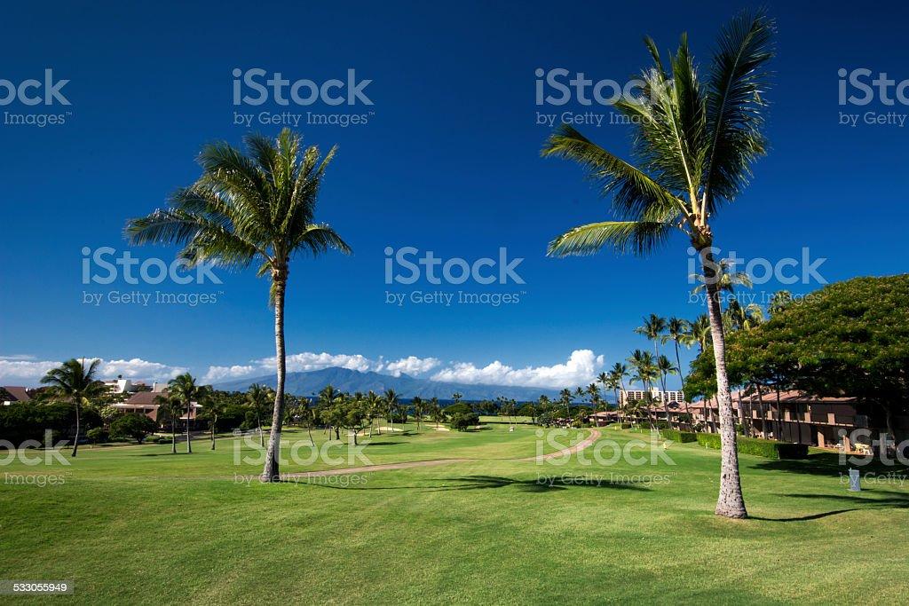 Kaanapali golf course west coast of Maui, Hawaii stock photo