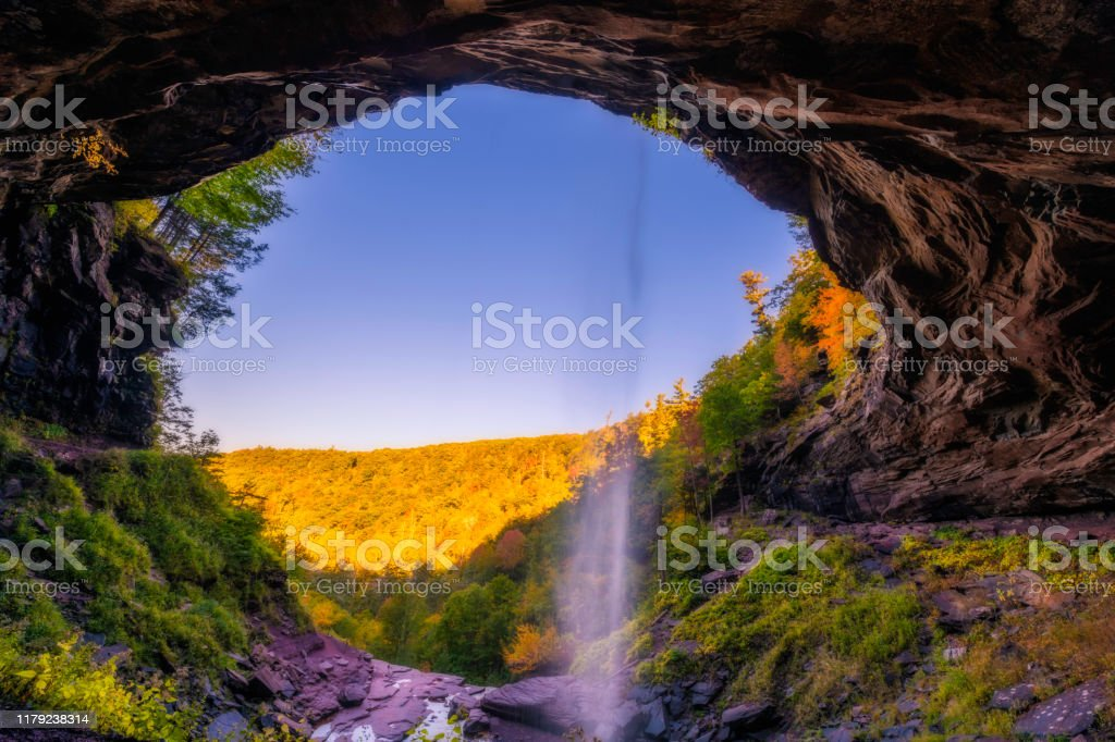 Kaaterskill falls Beautiful autumn waterfall upstate New York featuring mountains on the background. Orton effect Appalachia Stock Photo