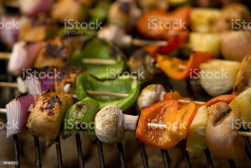 Kabobs on a bbq royalty-free stock photo