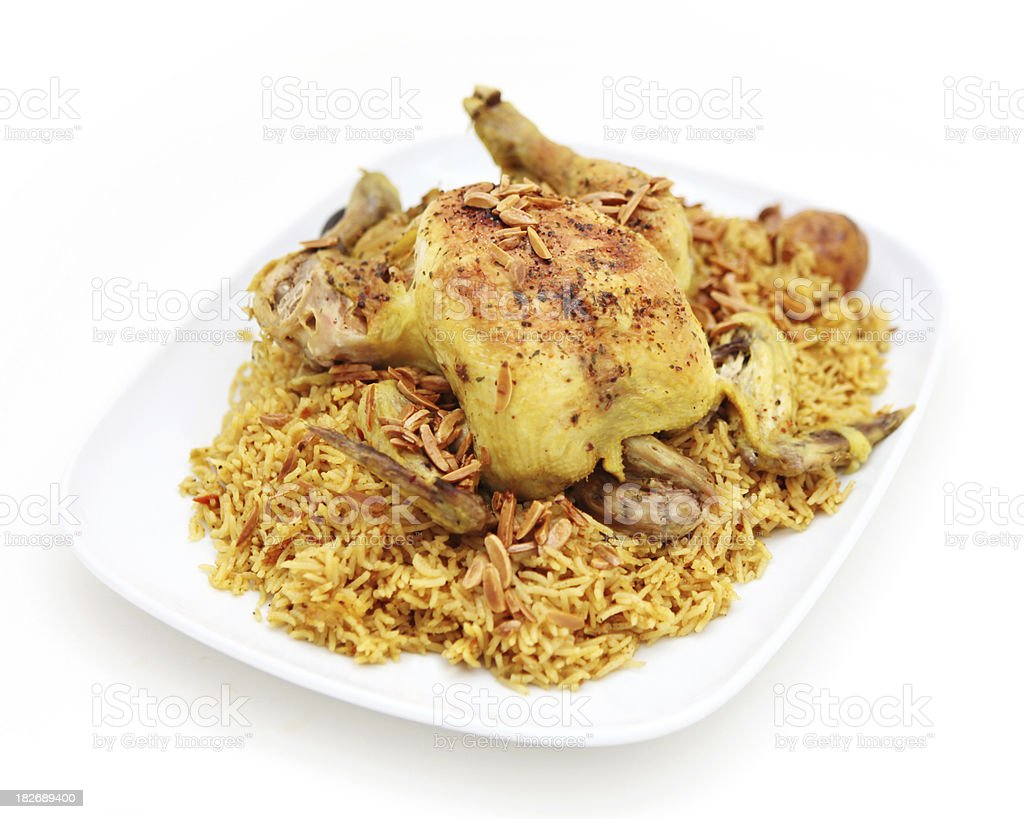 kabsa rice with stuffed chicken royalty-free stock photo