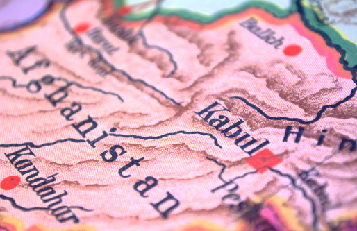 Antique Canadian classroom map from 1920, depicting Kabul, Kandahar, and Afghanistan.