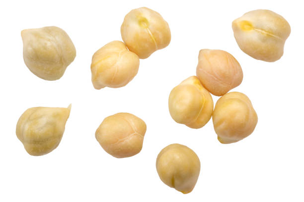 Kabuli chickpea C. arietinum, top, paths Kabuli Chickpeas (Cicer arietinum seeds), top view. Clipping paths chick pea stock pictures, royalty-free photos & images