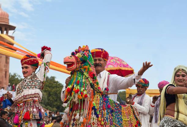 Kachhi Ghodi dancer on Camel festival in Rajasthan, India stock photo