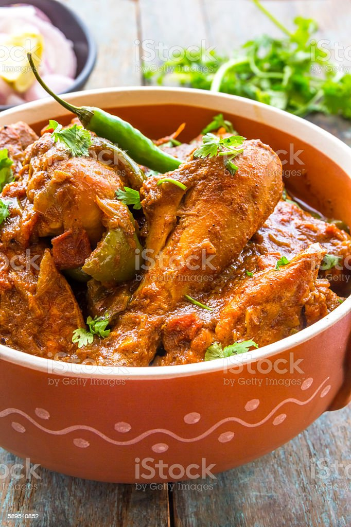 Kadai Chicken stock photo