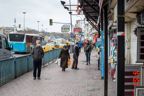 Kadikoy streets that are empty compared to normal days,Istanbul. stock photo