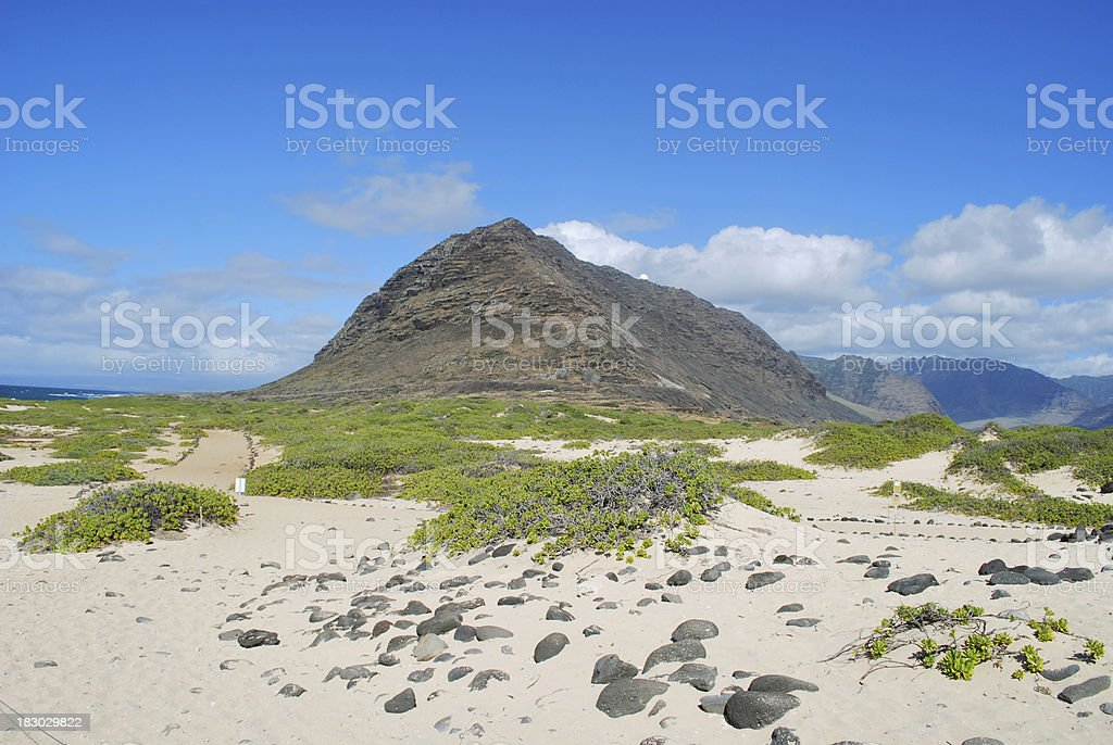 Kaena Point Hiking trail in Oahu royalty-free stock photo