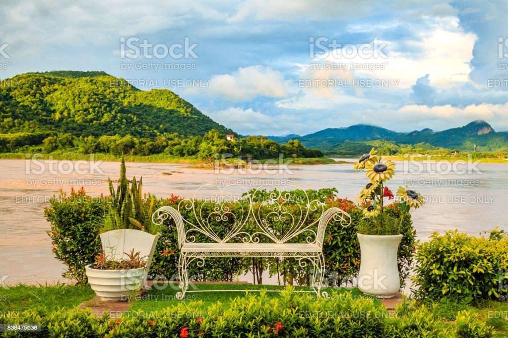 Kaeng Khut Khu and Khong river view with big mountain background at Chiang Khan Loei,Thailand stock photo
