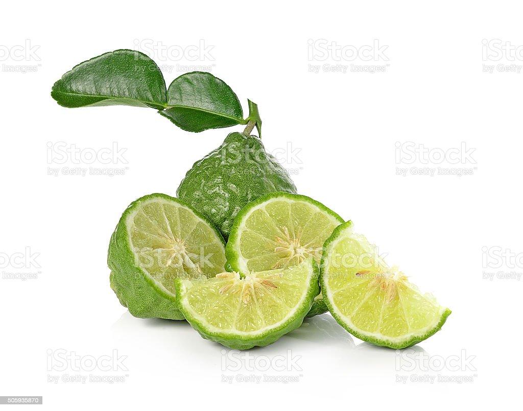 Kaffir lime isolated on white background. stock photo