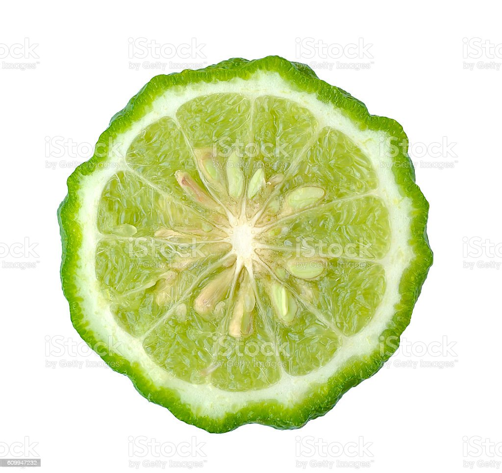 Kaffir lime isolated on white background stock photo