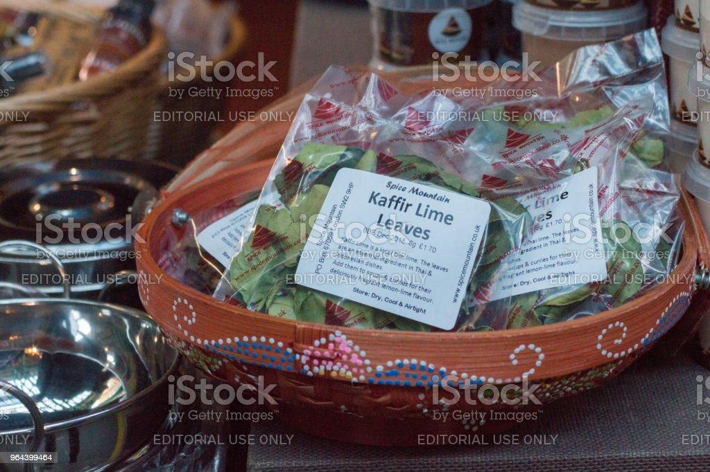 Folhas Kaffir de cal no Borough Market, Londres - Foto de stock de Alimentação Saudável royalty-free