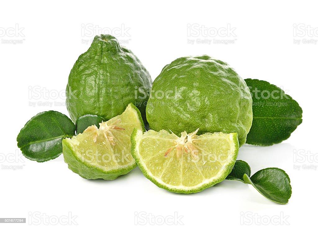 Kaffir lime on white background stock photo