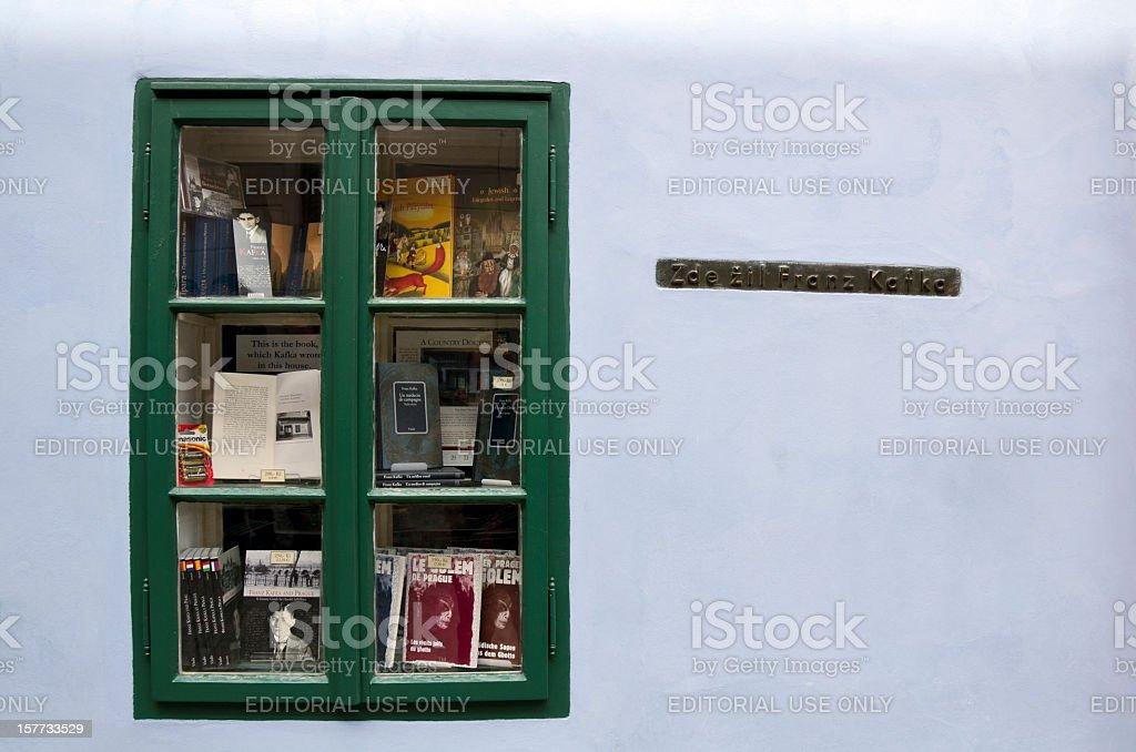 Kafka's Books Exposed in Golden Lane Prague Europe royalty-free stock photo