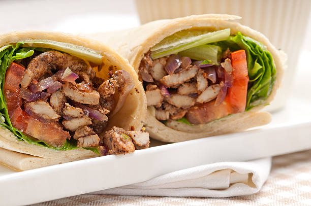 Kafta Shawarma chicken pita wrap with vegetables stock photo