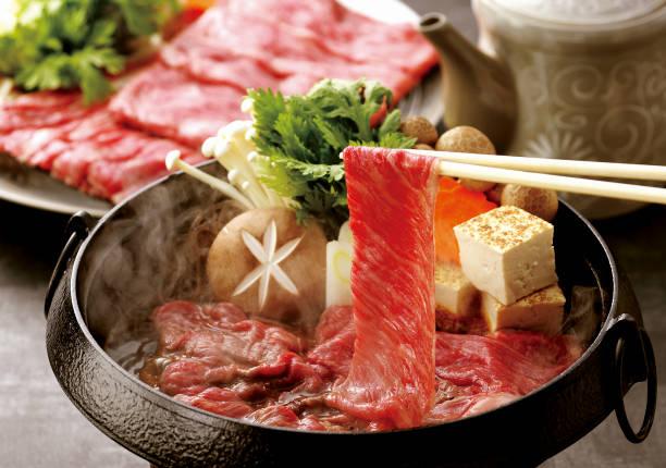 Kagoshima Prefecture from Japanese black cattle beef Sukiyaki stock photo