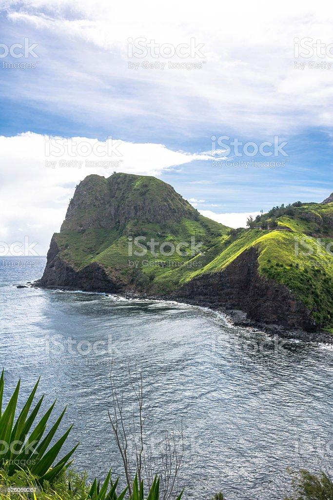 Kahakuloa Head in the Maui coast, Hawaii stock photo