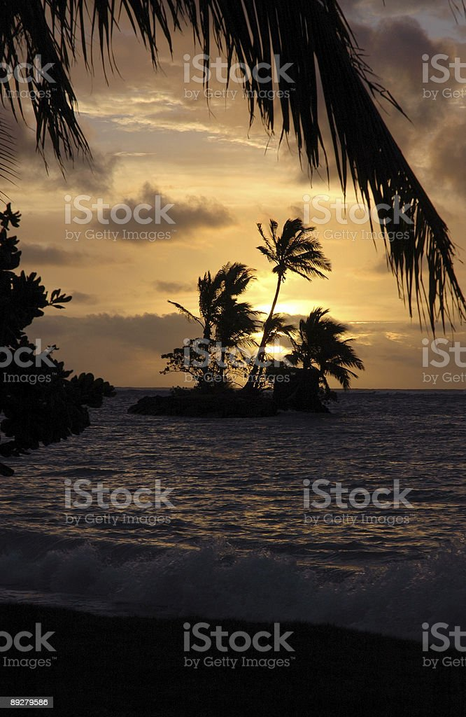 Kahala Beach island at sunrise, Oahu, Hawaii stock photo