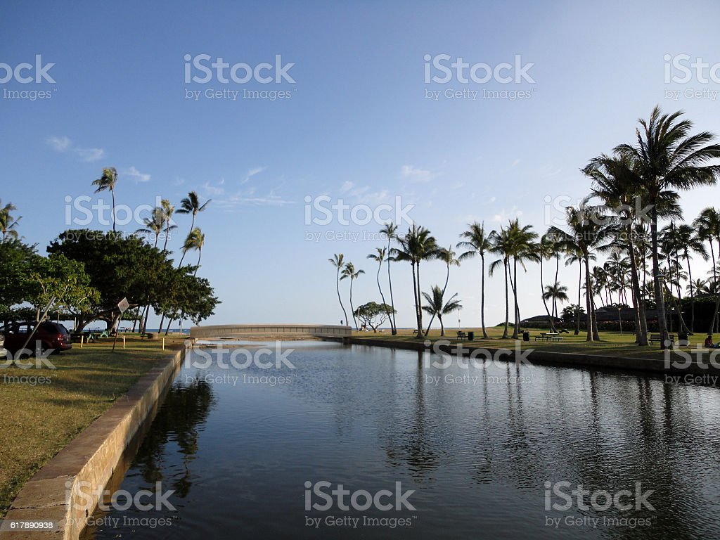 Kahala Beach Park stream and bridge stock photo