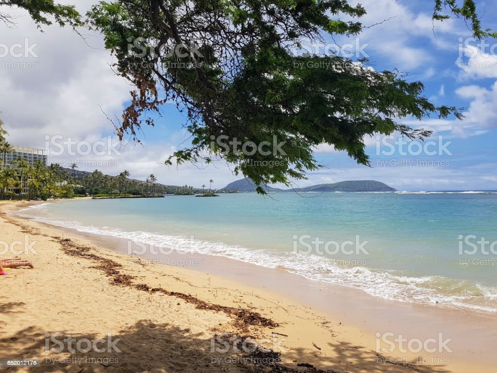 Kahala Beach stock photo