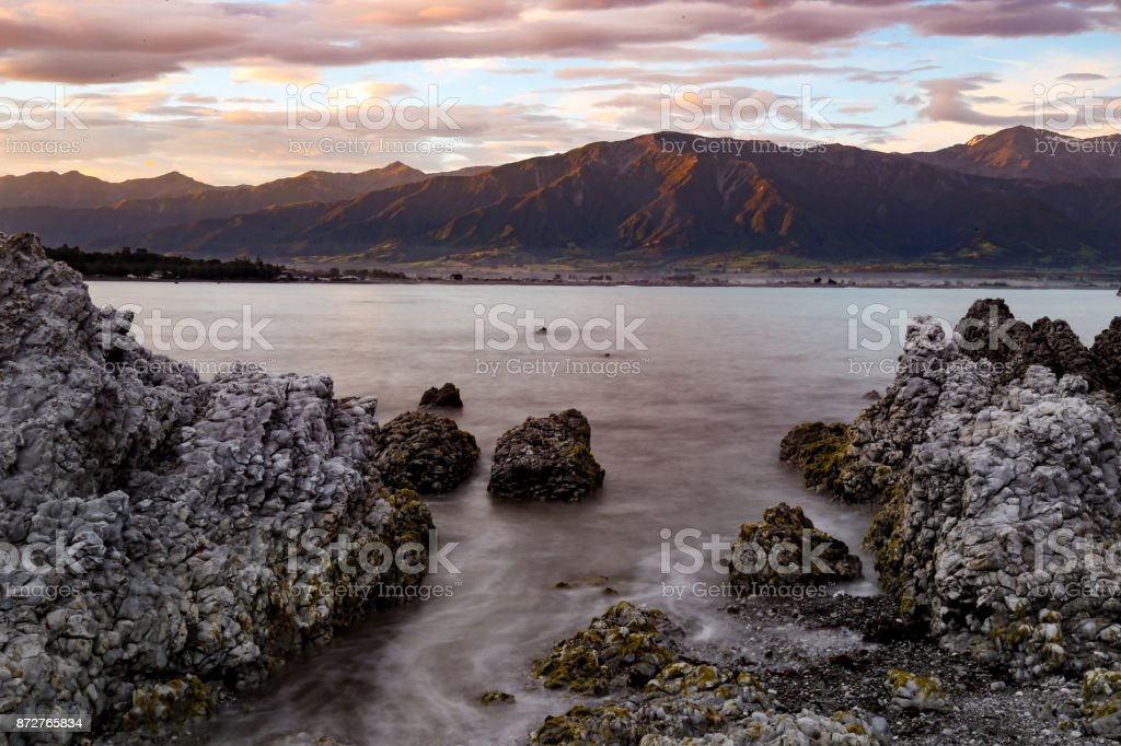 Kaikoura Harbor at Sunset stock photo