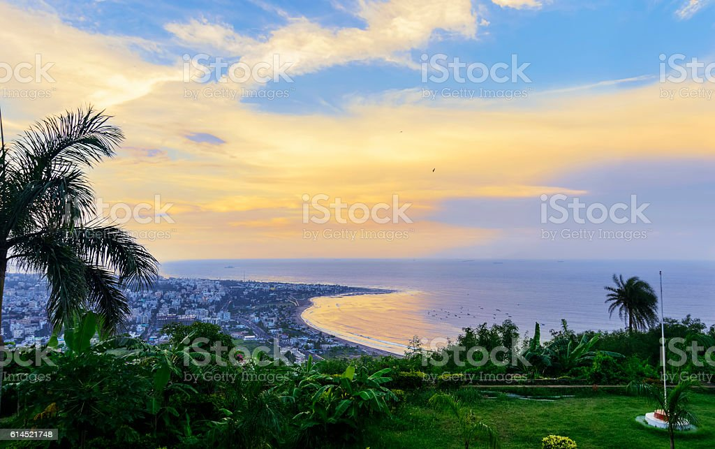 Kailasagiri hill overlooking city of Vizag and the beach stock photo