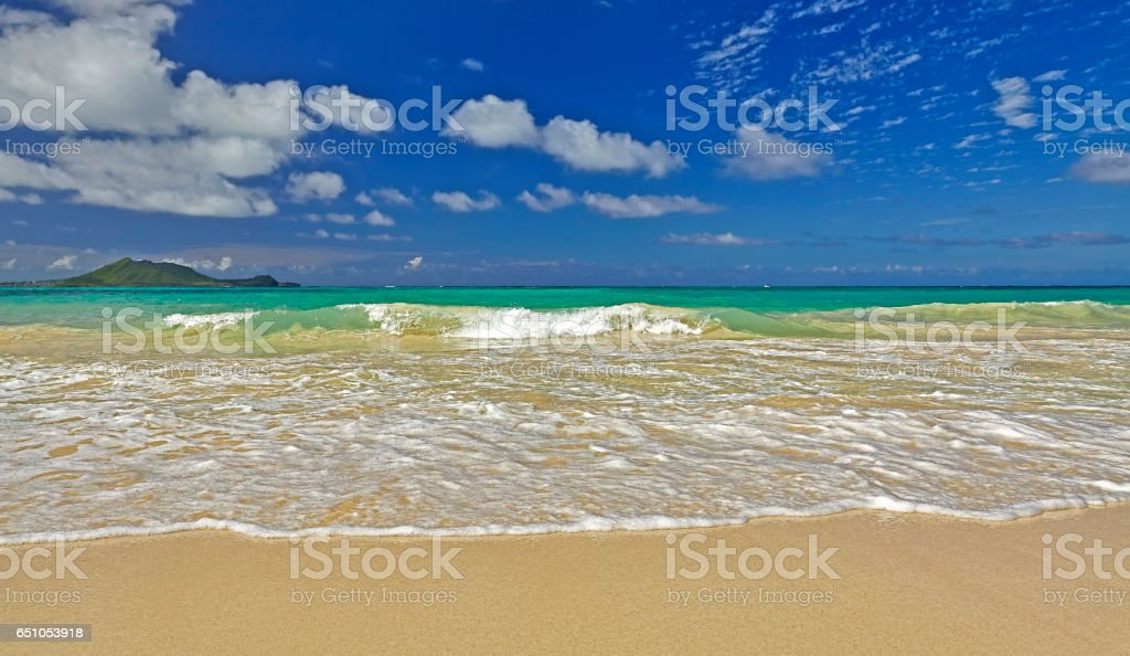 Kailua Bay beach and shore off KMCAS Hawaii stock photo