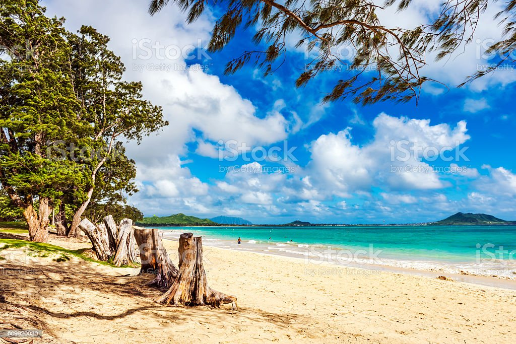 Kailua Beach Park in Oahu, Hawaii stock photo