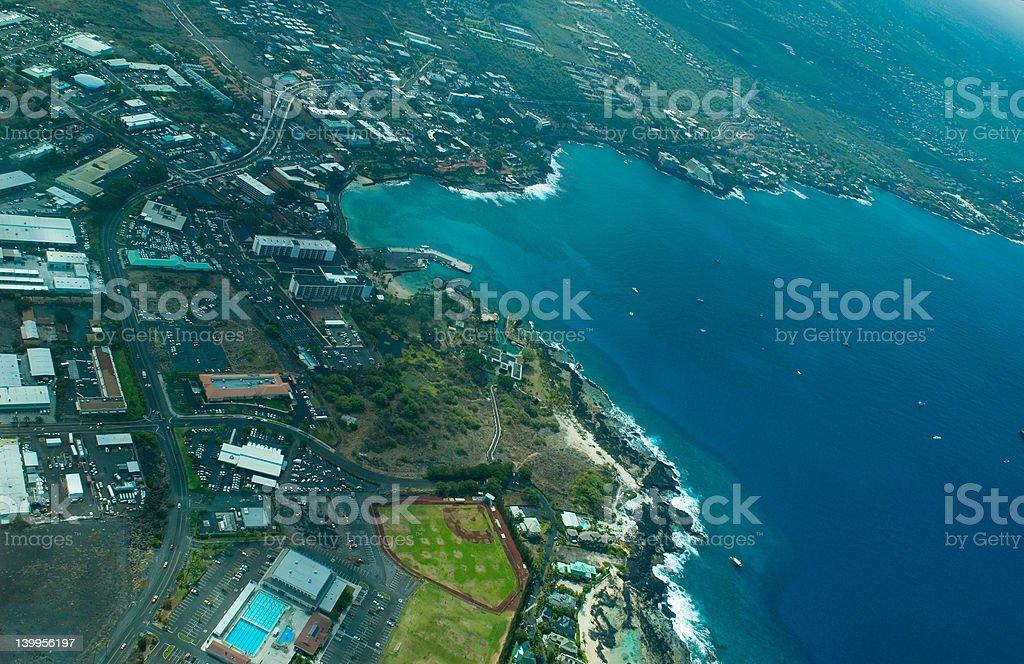 Kailua-Kona, Big Island aerial shot stock photo