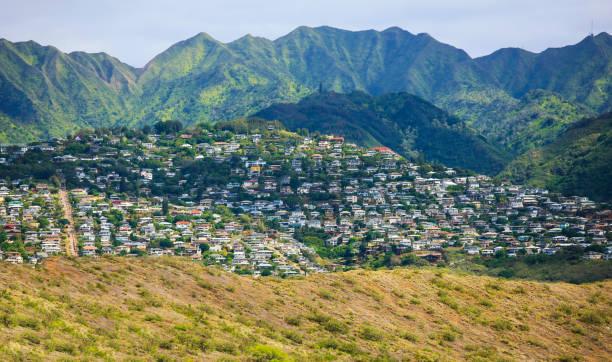 kaimuki town area, south-east oahu, hawaii - hawaii home stock photos and pictures