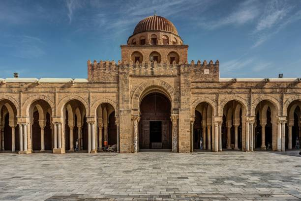 Kairouan Grand Masjid Okba BEN Nafaa Grand Masjid in Kairouan the old capital and first city in North Africa built by Muslims grand mosque stock pictures, royalty-free photos & images