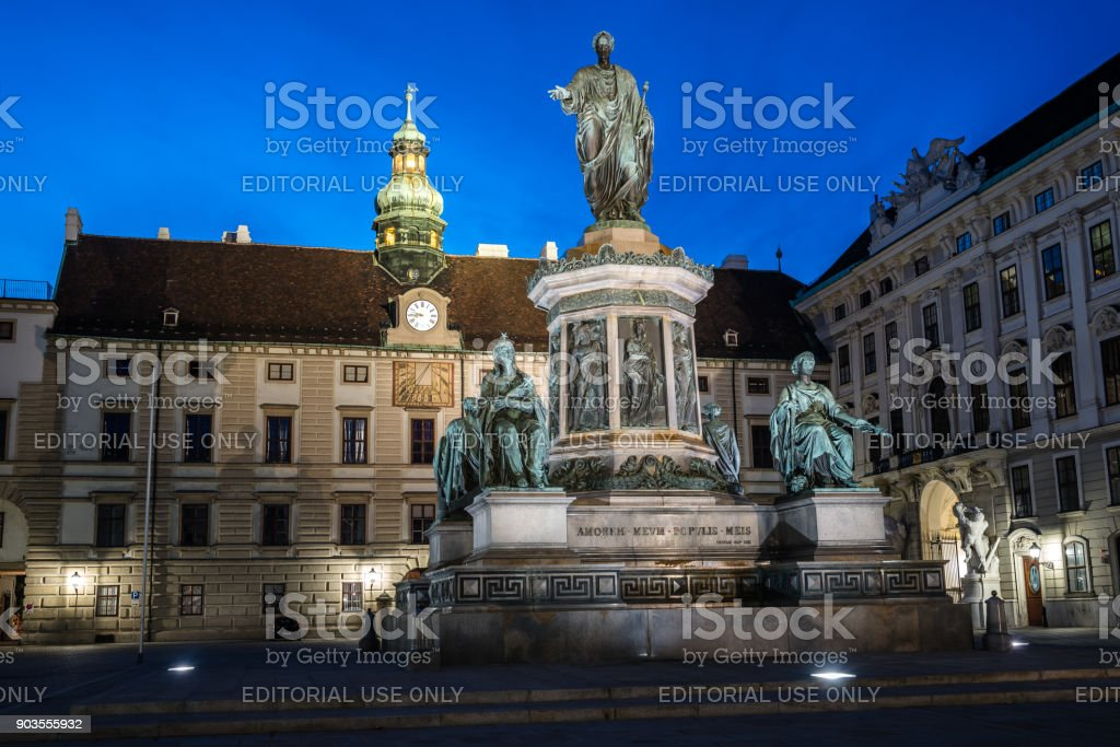 Kaiser Franz I monument in Hofburg Palace in Vienna at night stock photo