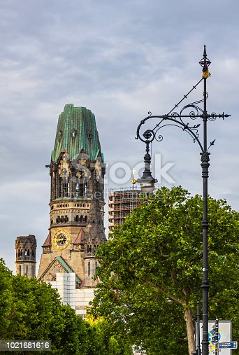 Kaiser-Wilhelm-Kirche, Memorial Church on Kurfurstendamm, Berlin, Germany. One of the main tourist attractions of Berlin