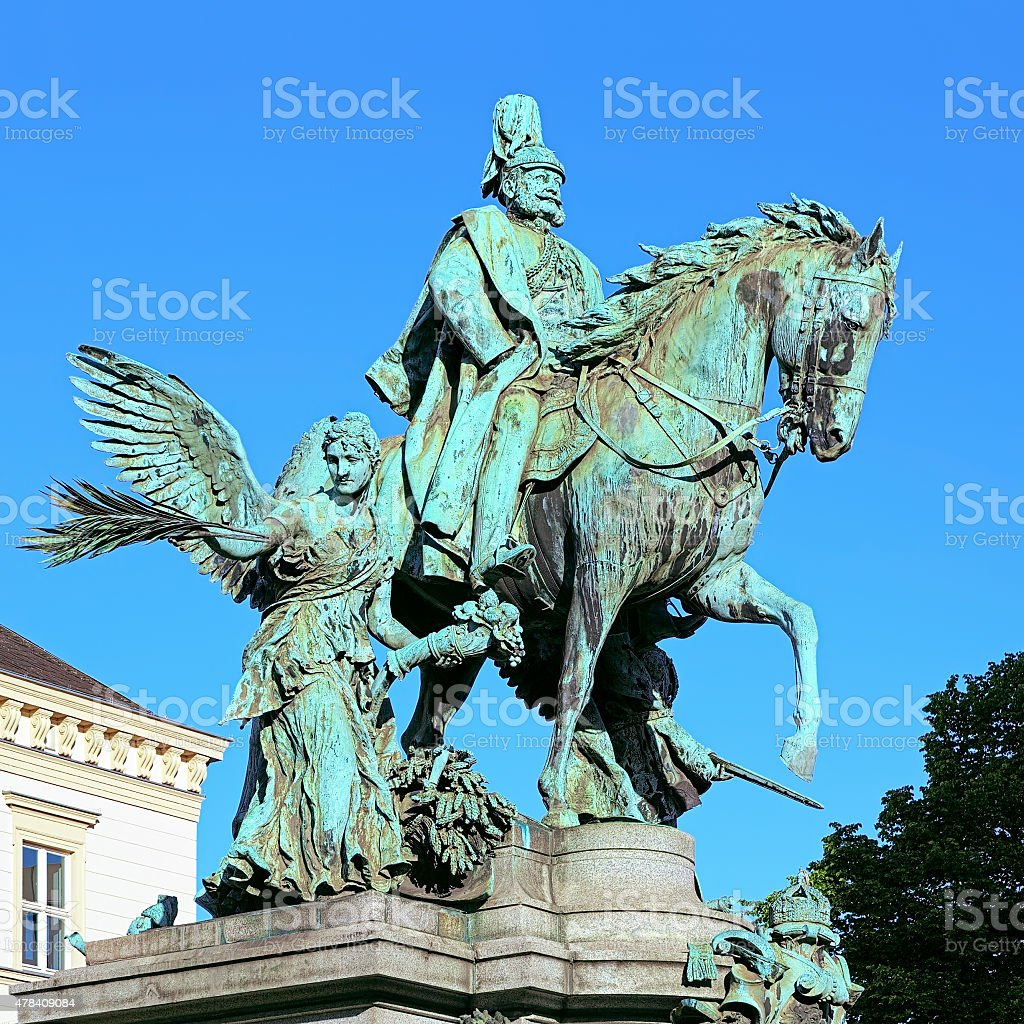 Kaiser Wilhelm Monument in Dusseldorf, Germany stock photo