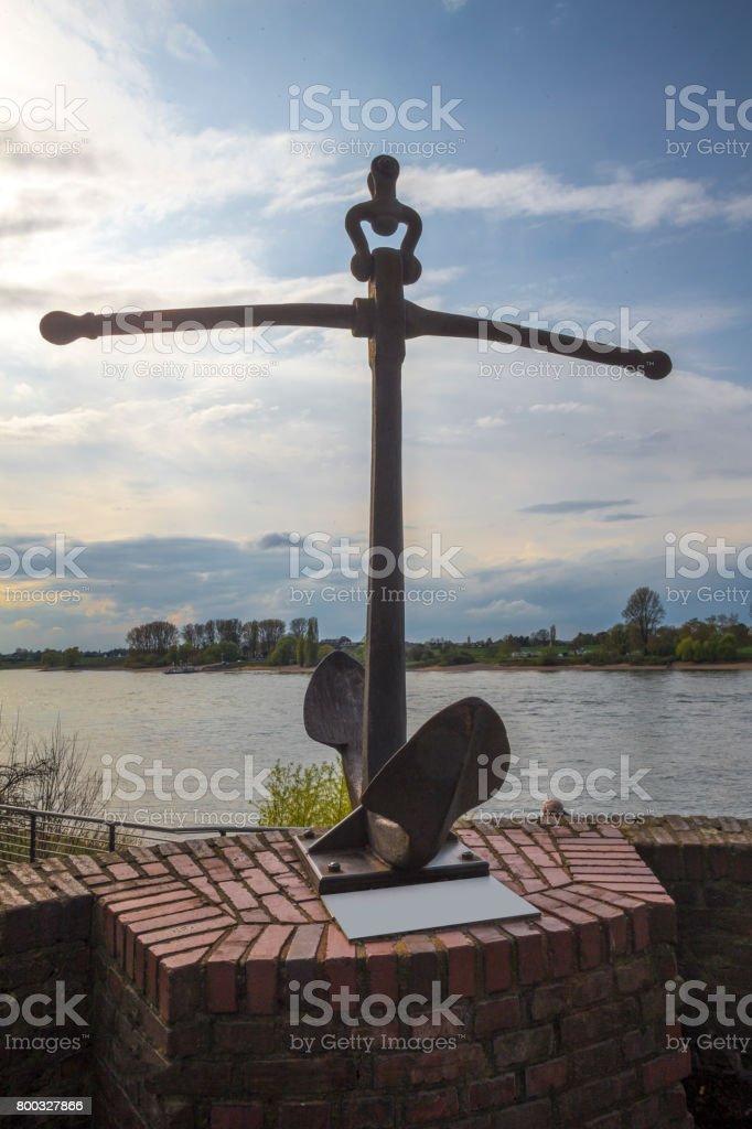 kaiserswerth duesseldorf germany anchor statue stock photo