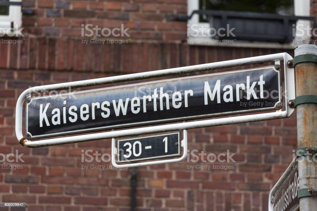 kaiserswerth duesseldorf market germany street sign stock photo