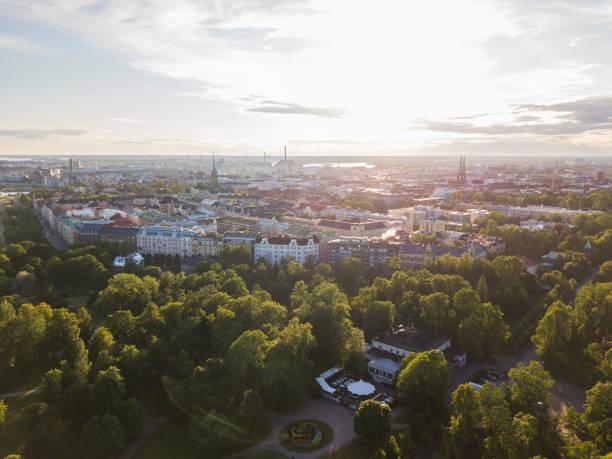 brunnsparken i helsingfors, finland - drone helsinki bildbanksfoton och bilder