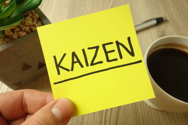 Kaizen - Japanese continuous improvement - motivational reminder handwritten on sticky note stock photo