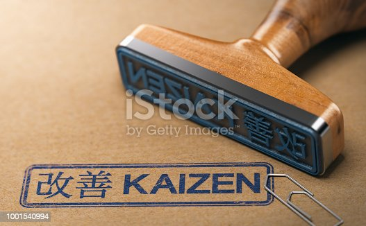 3D illustration of a rubber stamp with the text kaizen in English and Japanese language stamped on paper background. Concept of continuous improvement.