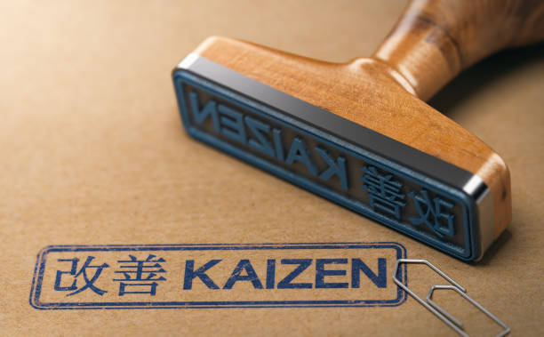 Kaizen Word, Continuous Improvement and Lean Manufacturing 3D illustration of a rubber stamp with the text kaizen in English and Japanese language stamped on paper background. Concept of continuous improvement. leaning stock pictures, royalty-free photos & images