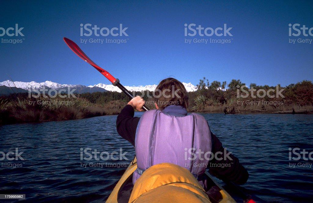 Kajaking in New Zealand royalty-free stock photo