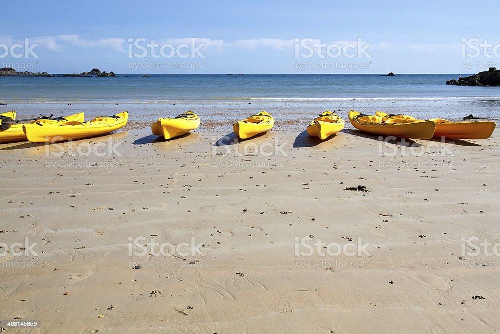 Kajaks at St. Brelade's Bay, Jersey, UK stock photo