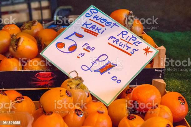 Foto de Frutas Caqui No Borough Market Londres e mais fotos de stock de Borough Market