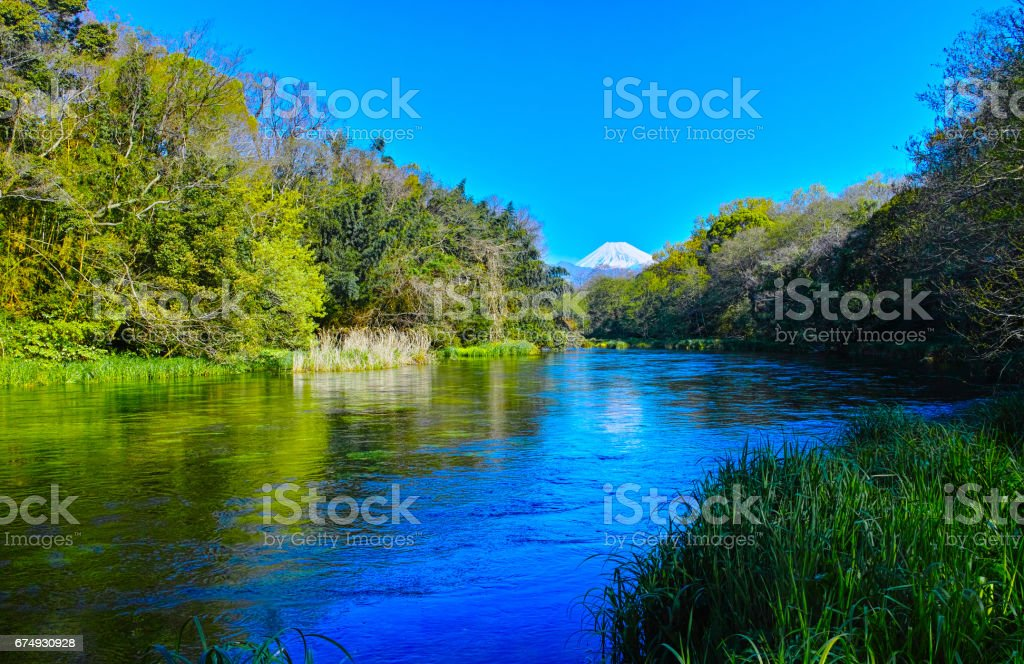 Kakita River and Mt. Fuji in the early morning royalty-free stock photo