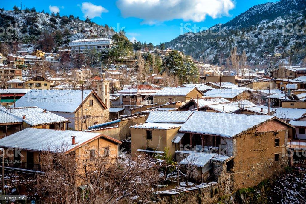 Kakopetria village during winter, covered with snow. Nicosia District, Cyprus stock photo
