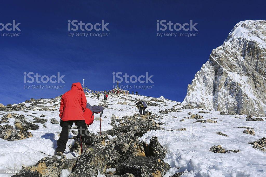 kala patthar and pumo ri summit from everest trek stock photo