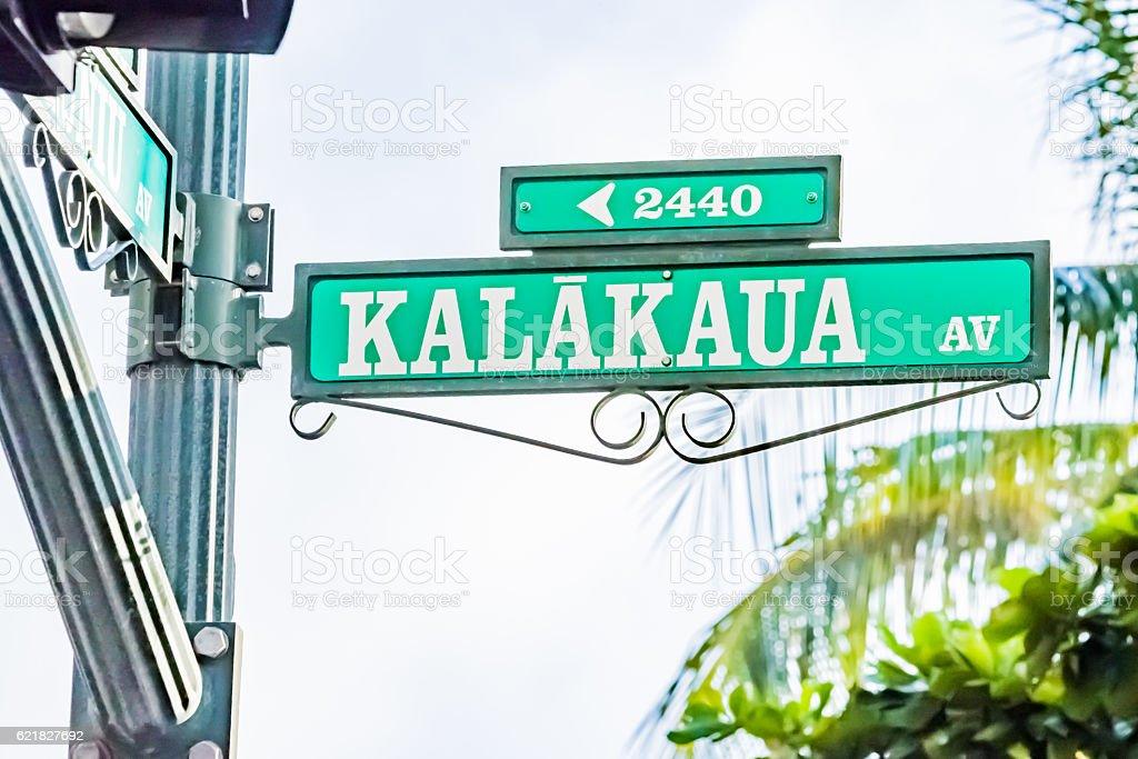 Kalakaua avenue in Waikiki, Hawaii stock photo
