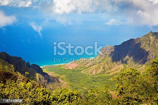 The scenic Waimea Canyon State Park, a popular attraction on the island of Kauai of Hawaii USA. Viewed from the Kakalau Lookout.