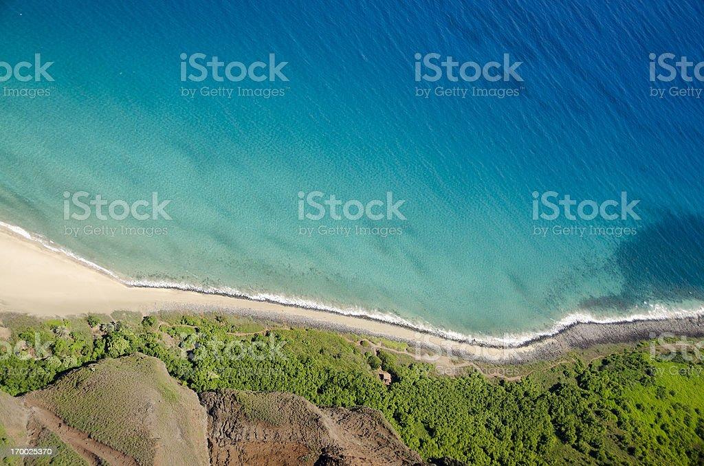 Kalalau Trail, Kauai, Hawaii, aerial view stock photo